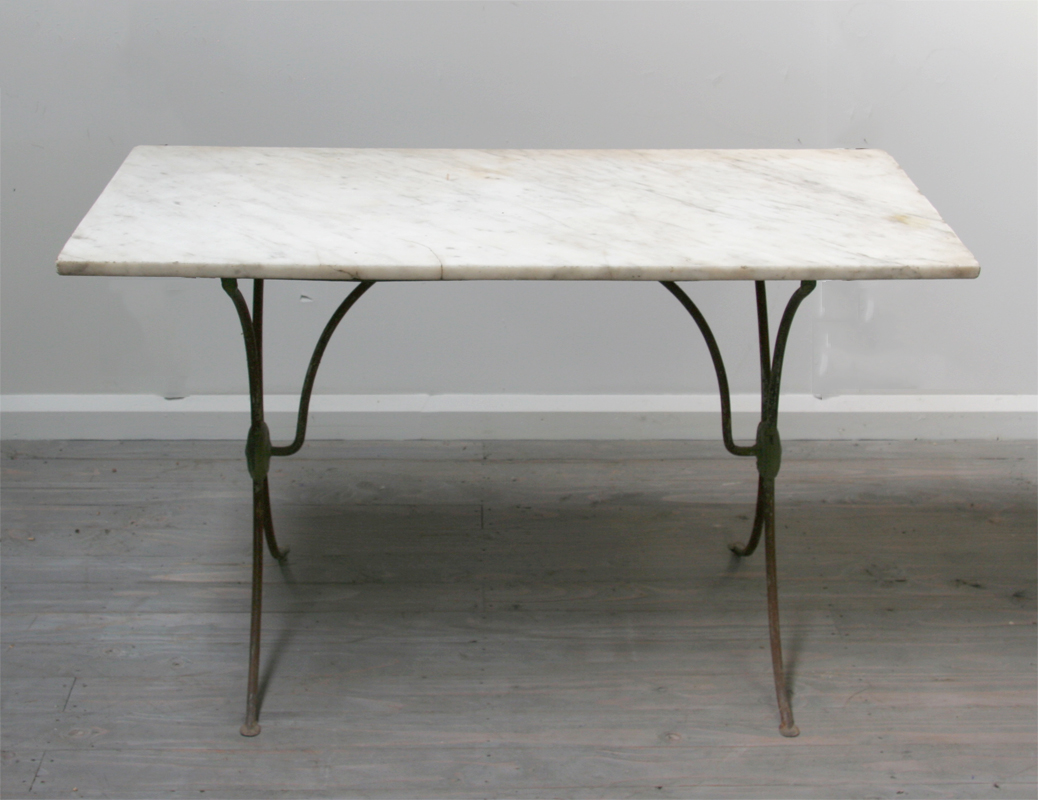 french iron and marble café table | haunt - antiques for the