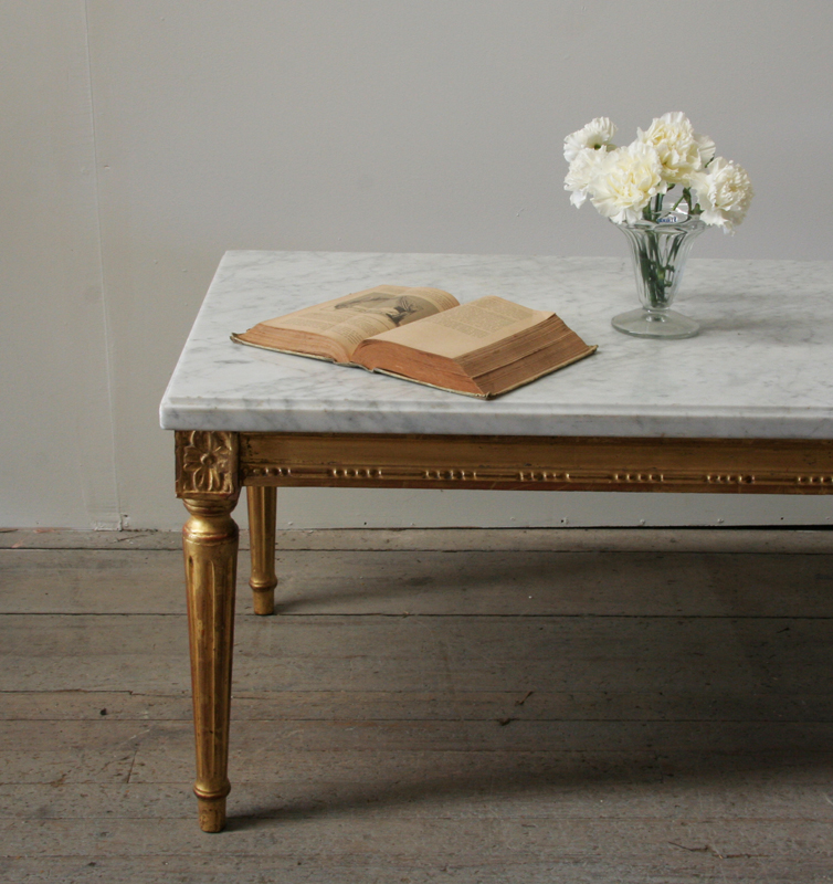 White Coffee Table Nz: Louis 16 Style Giltwood And Marble Coffee Table