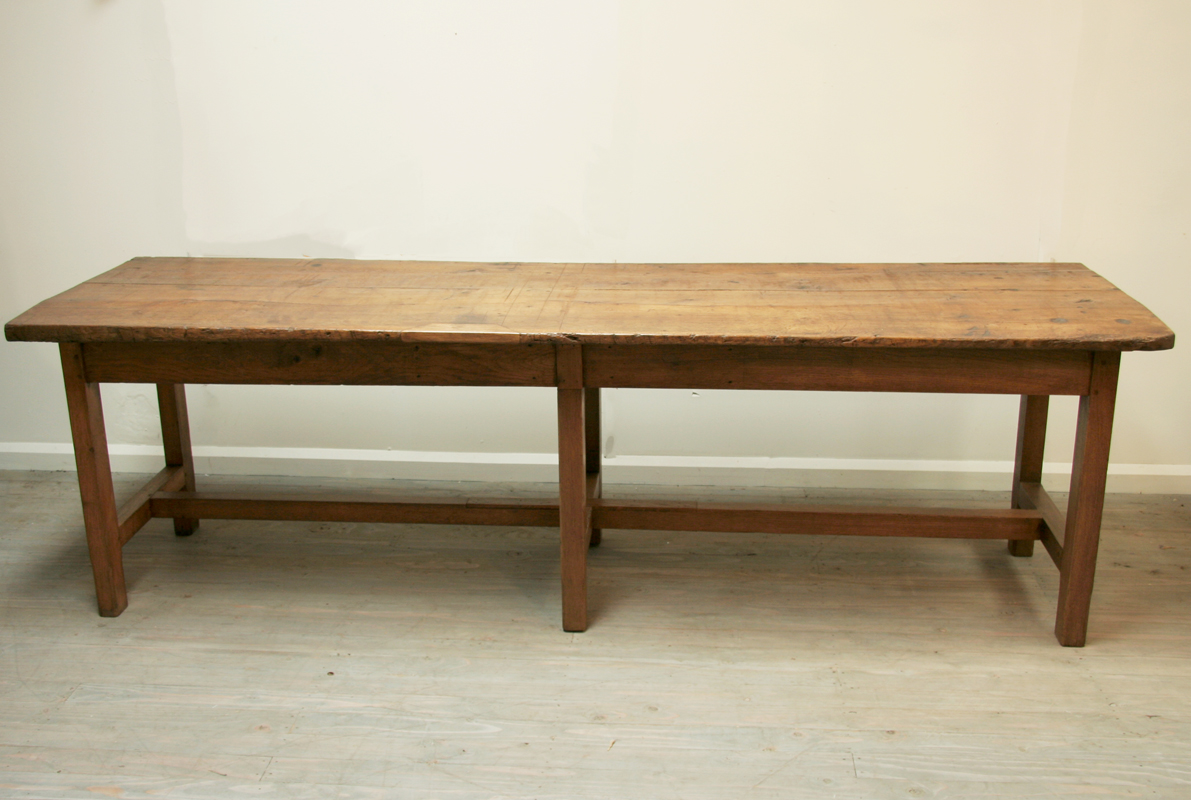 Long french oak rustic dining table haunt antiques for for Long dining table