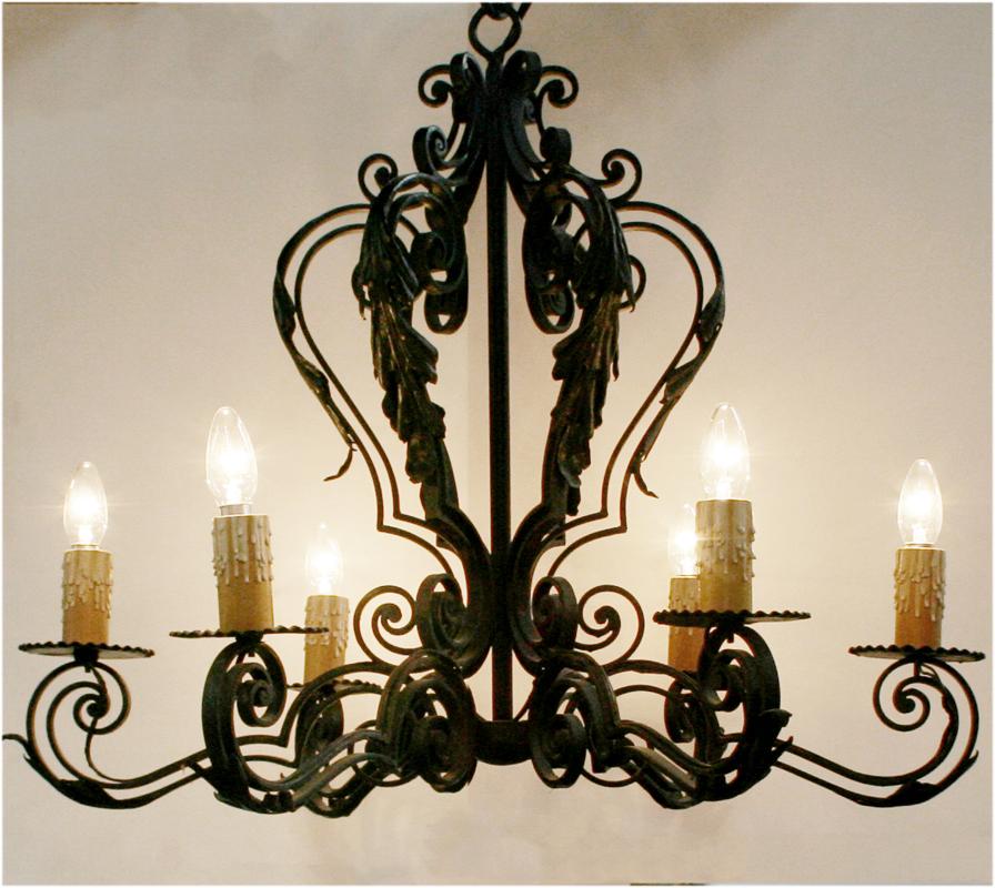 Spanish wrought iron chandelier haunt antiques for the modern spanish wrought iron chandelier aloadofball Images
