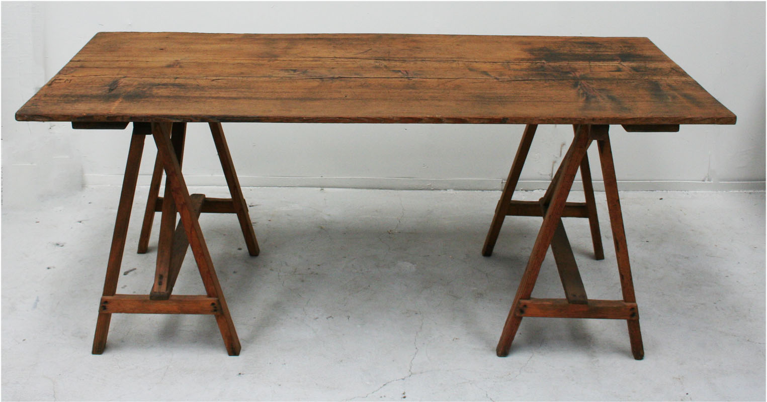 French 19th Century Studio Trestle Worktable Haunt Antiques For The Modern Interior