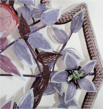French 19th Century Floral Beaded Wreath