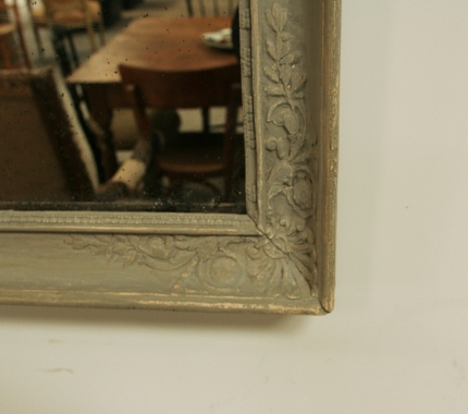French Dove Grey 19th Century Mirror