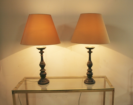 Pair Of Classical Black Turned Lamps