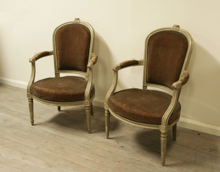 Pair Of Louis 16 Period Fauteuils