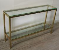 A Chic 1970's Brass and Glass Console Table