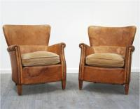 French 1940's Leather Club Chairs