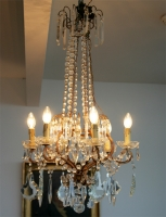 Beautiful Gilt Metal And Crystal Chandelier