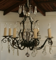French Wrought Iron And Crystal Chandelier