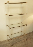 French 1960's Lucite, Glass And Brass Shelves