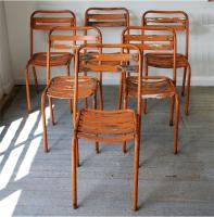 Set of Six French Industrial Garden Chairs