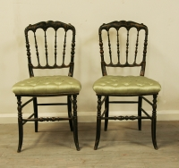 Pair Of Napoleon III Ebonised side chairs
